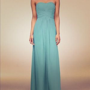 Long Strapless Chiffon Dress with Pleated Bodice